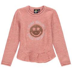 Pull en tricot avec Smiley en sequins