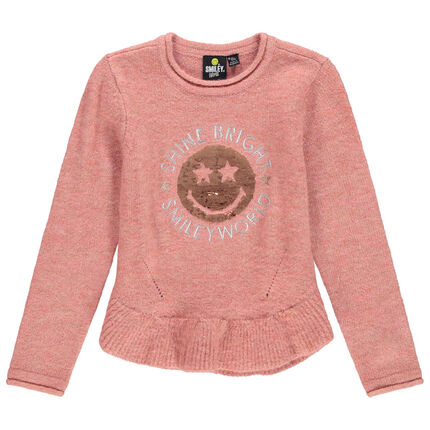 Pull en tricot avec Smiley en sequins