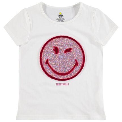 Camiseta de manga corta de punto con Smiley con brillo