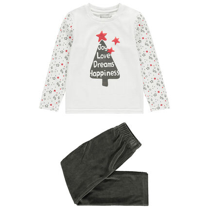 Pijama de terciopelo con abeto estampado de estilo navideño