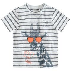 Camiseta de manga corta a rayas con estampado de jirafa