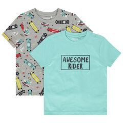 Juego de 2 camisetas de manga corta de algodón ecológico con mensaje estampado