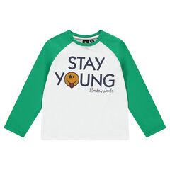 Camiseta de manga larga bicolor con estampado de fieltro ©Smiley