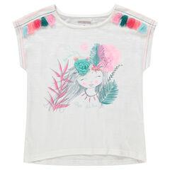 Camiseta de punto de manga larga con princesa estampada y borlas