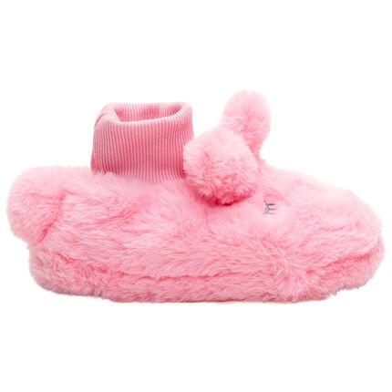Zapatillas con forma de conejo de peluche con orejas de relieve