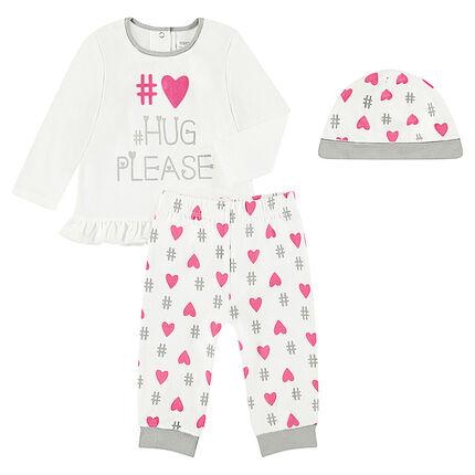 Pijama de 3 piezas con camiseta con mensaje estampado, gorro y pantalón con corazones estampados all over