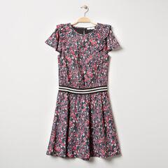 Júnior - Vestido de manga corta con flores y elástico de rayas