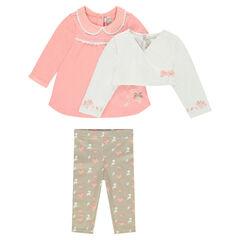 Conjunto de 3 piezas con túnica, bolero y legging estampado