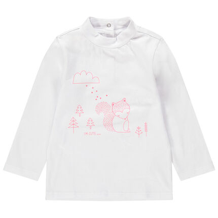Camiseta con cuello subido con ardilla estampada