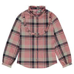 Júnior - Camisa de manga larga de algodón de fantasía de cuadros
