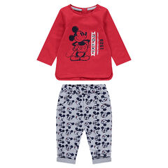 Conjunto de camiseta estampada Mickey vintage ©Disney y pantalón all-over