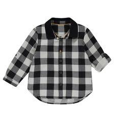 Camisa de manga larga de cuadros con cuello mao liso