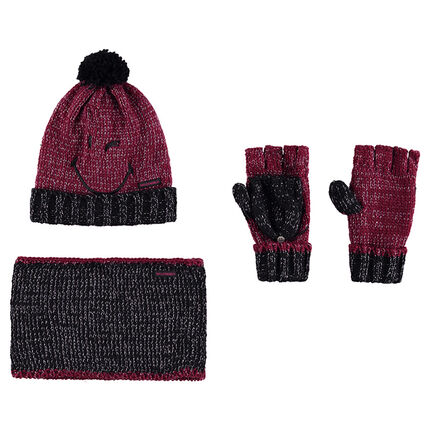 Conjunto de gorro con bordado de ©Smiley, manoplas y snood de punto.