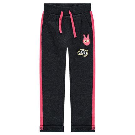 Pantalón de chándal de felpa con parches y detalles rosas