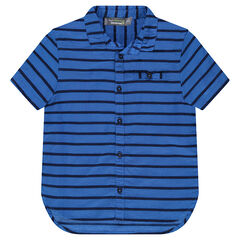 Camisa de algodón con rayas en relieve all-over