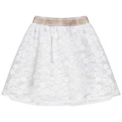 Falda de gala de tul con bordados y cintura elástica brillante