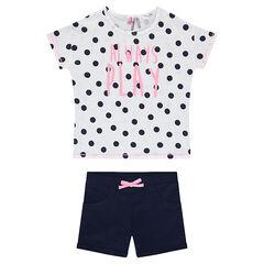 Júnior - Conjunto de camiseta con lunares all over y pantalón corto liso
