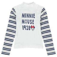 Camiseta interior con cuello alto con rayas lados con estampado Minnie Disney