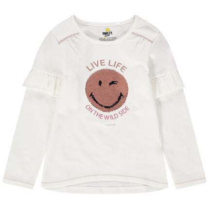 Camiseta de manga larga con volantes de punto con Smiley de lentejuelas mágicas