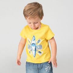 Camiseta de punto slub de manga corta con estampado de kayak