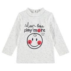Camiseta interior acanalada con mensaje y estampado de ©Smiley