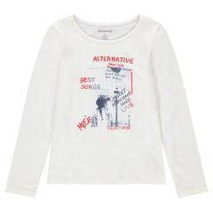 Júnior - Camiseta de manga larga con mensaje estampado