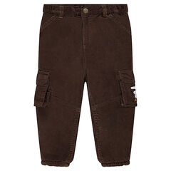 Pantalón de pana con forro de micropolar y bolsillos tipo parche