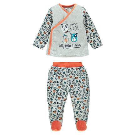 Pijama de terciopelo pie cerrado con estampado all-over