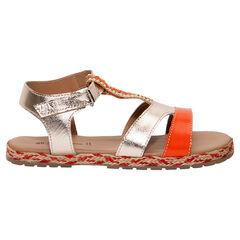 Sandalias de cuero dorado y naranja con perlas y suela de esparto