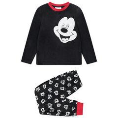 Pijama de polar con dibujo de Mickey y toques rojos