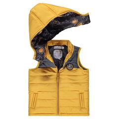 Chaleco anorak amarillo acolchado con capucha desmontable