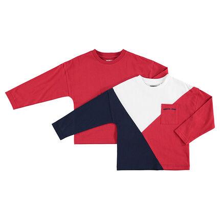 Júnior - Juego de 2 camisetas de manga larga lisa/con franjas en contraste y bolsillo