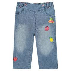 Jeans forme boule avec badges fruits