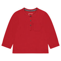Camiseta de manga larga con bolsillo de punto slub