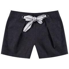 Júnior - Pantalón corto de bordado de realce con cordones que se anudan
