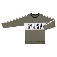 Júnior - Camiseta de manga larga de punto slub con inscripciones estampadas
