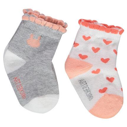 Juego de 2 pares de calcetines variados con canalé de festón