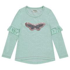 Camiseta de manga larga de punto jaspeado con volantes y mariposas con lentejuelas mágicas