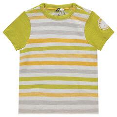 Camiseta de manga corta de jersey de rayas con parche de león