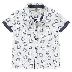 Camisa de manga corta de algodón con soles estampados y toques de cambray