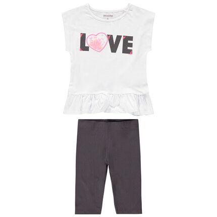 Conjunto de camiseta con corazón de tul y lentejuelas y legging corto