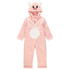 Pijama con animal de fantasía de borreguillo rosa