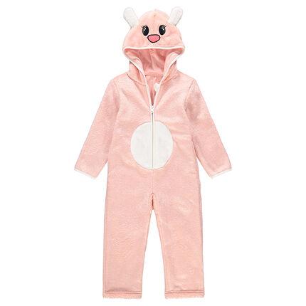 Pijama con animal de fantasía de borreguillo rosa