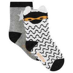 Juego de 2 pares de calcetines variados con dibujos/lisos con estrella