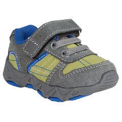 Zapatillas de deporte de caña baja con cordones con velcro de piel serraje