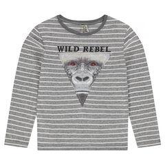 Júnior - Camiseta de manga larga a rayas con cabeza de mono estampada