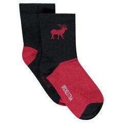 Juego de 2 pares de calcetines lisos/de dos colores con ciervo de jácquard