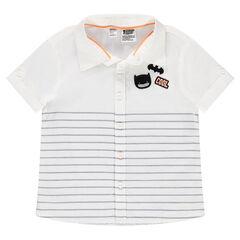 Camisa de manga corta de algodón con parche de Batmen y rayas estampadas