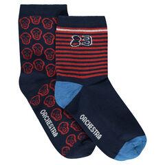 Juego de 2 pares de calcetines variados con rayas/calaveras