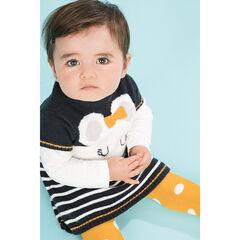 Robe manches courtes en tricot motif souris et rayures